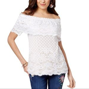 Thalia Off-The-Shoulder Lace Top size XL
